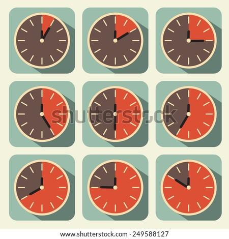 Clock - Time Countdown Set - stock photo