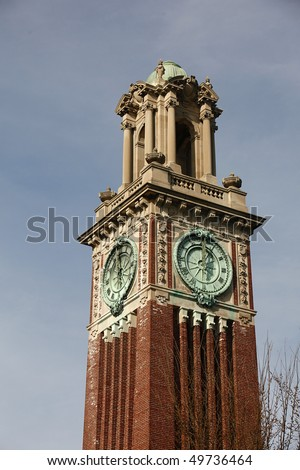 Clock Tower at Brown University Campus, Providence, Rhode Island. - stock photo