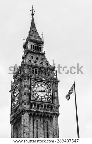 "Clock tower ""Big Ben"" near House of Parliament, London, UK. Tower is now officially called the Elizabeth Tower to celebrate the Diamond Jubilee of Queen Elizabeth II. Black and white. - stock photo"