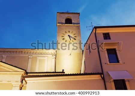Clock tower in Desenzano del Garda. Desenzano del Garda, Lombardy, Italy. - stock photo