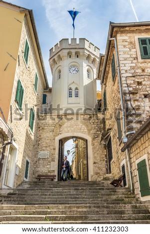 Clock Tower in Herceg Novi (Sahat Kula) - stock photo
