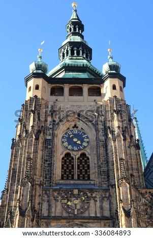 Clock Tower of St. Vitus Cathedral in Prague Castle, Prague, Czech Republic. - stock photo