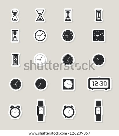 clock web icons set. paper stickers. raster version, vector file also available in gallery - stock photo