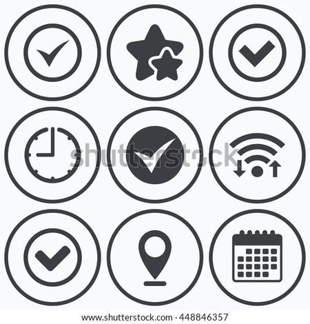 Clock, wifi and stars icons. Check icons. Checkbox confirm circle sign symbols. Calendar symbol. - stock photo