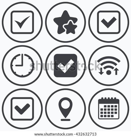 Clock, wifi and stars icons. Check icons. Checkbox confirm squares sign symbols. Calendar symbol. - stock photo