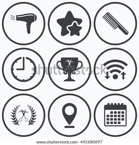Clock, wifi and stars icons. Hairdresser icons. Scissors cut hair symbol. Comb hair with hairdryer symbol. Barbershop laurel wreath winner award. Calendar symbol. - stock photo