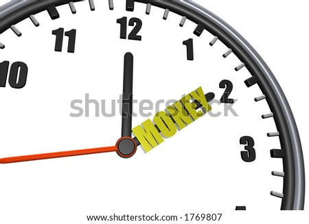 Clock with a golden dollar symbol for an hour hand - stock photo