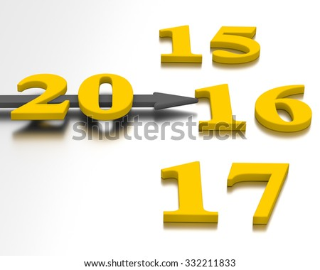 Clock with an annual.The arrow points to 2016 year - stock photo