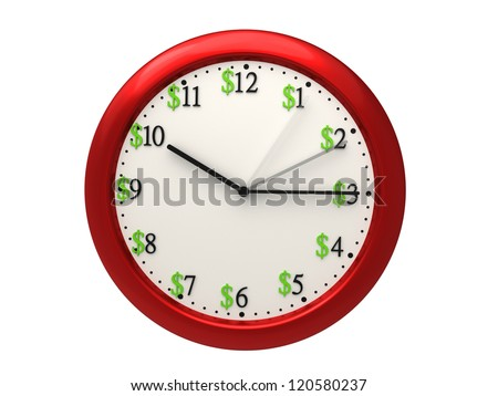 Clock with arms moving fast and dollar signs illustrating how time is money - stock photo