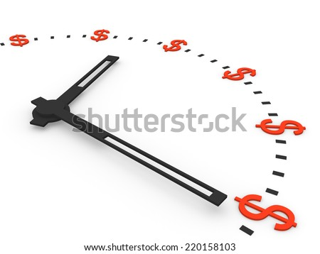 Clock with dollar signs instead numbers - stock photo