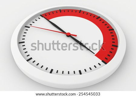 clock with marked border red time. 3d rendering - stock photo