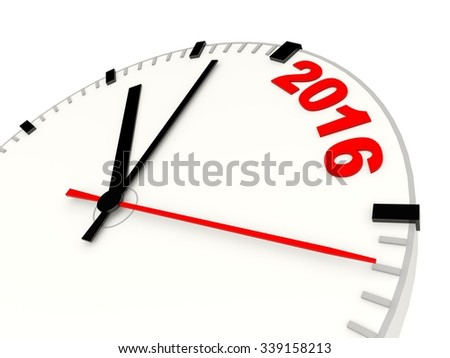 Clock with 2016 New Year sign isolated on white - stock photo