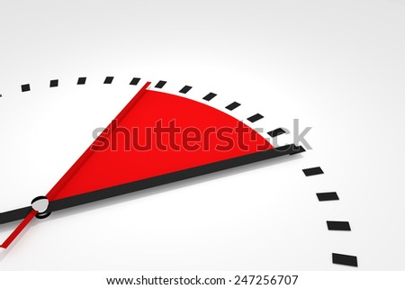 clock with red seconds hand area time remaining 3d illustration  - stock photo