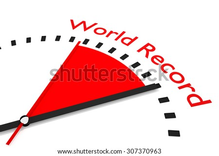 clock with red seconds hand area world record 3d illustration  - stock photo