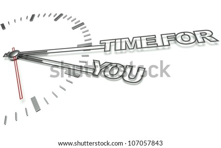 Clock with the words Time for you, concept of personal development - stock photo