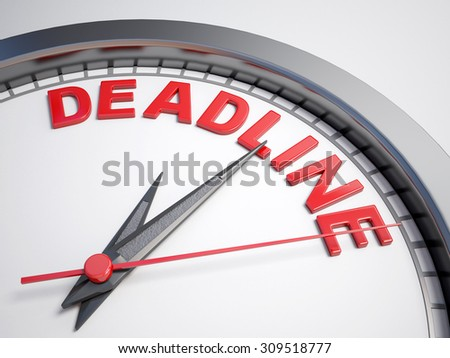 Clock with words deadline on its face - stock photo