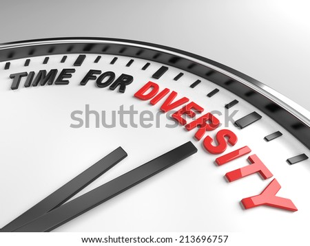Clock with words time for diversity on its face - stock photo