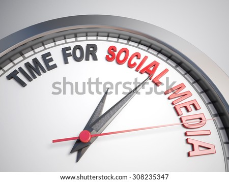 Clock with words time for social media on its face - stock photo
