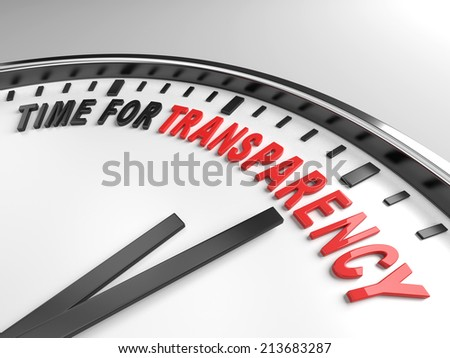 Clock with words time for transparency on its face - stock photo