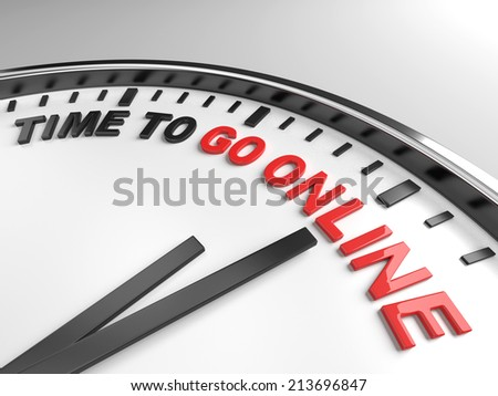 Clock with words time to go online on its face - stock photo