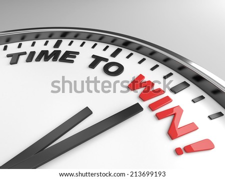 Clock with words time to win on its face - stock photo
