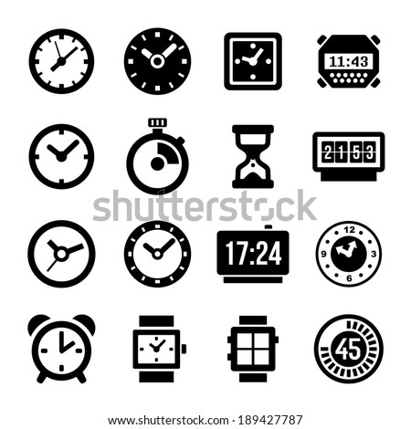 Clocks Icons Set on White Background - stock photo