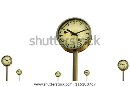 Clocks in Canary Wharf in London's financial district, isolated on white surface. - stock photo