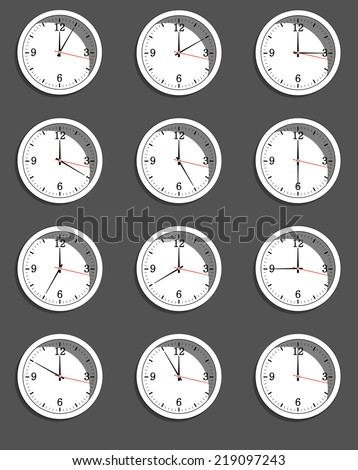clocks showing different time. illustration.  - stock photo