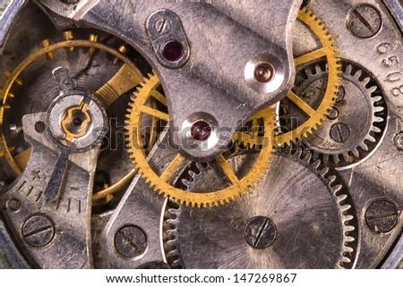 Clockwork close-up - stock photo