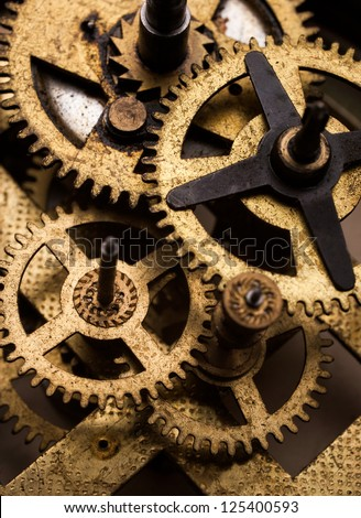 clockwork gears macro - stock photo