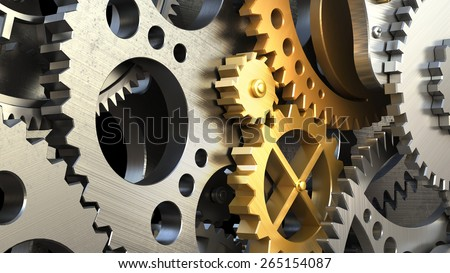 Clockwork mechanism or a machine inside. Closeup gears and cogs. 3d illustration - stock photo