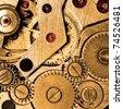 Clockwork of wristwatch super macro sepia toned. - stock photo