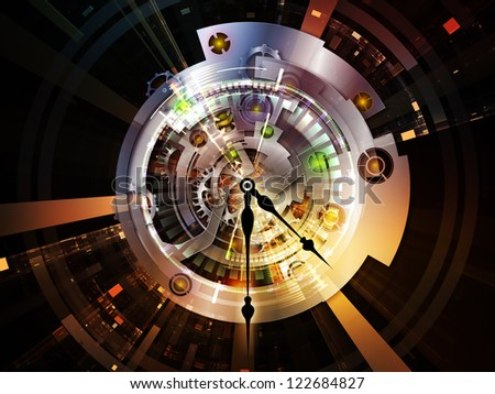 Clockwork Series. Backdrop composed of clock gears, numbers and fractal elements and suitable for use in the projects on time, modernity, science and technology - stock photo