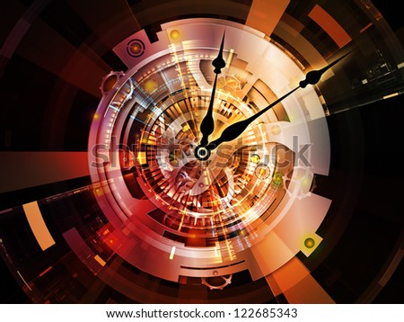 Clockwork Series. Design composed of clock gears, numbers and fractal elements as a metaphor on the subject of time, modernity, science and technology - stock photo