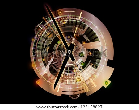 Clockwork Series. Visually attractive backdrop made of clock gears, numbers and fractal elements suitable as background for works on time, modernity, science and technology - stock photo