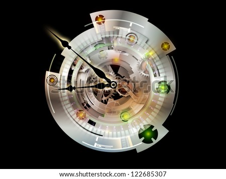 Clockwork Series. Visually pleasing composition of clock gears, numbers and fractal elements to serve as  background in works on time, modernity, science and technology - stock photo