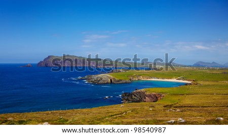 Clogher head and grotto and Sybil head in the distance, Dingle Peninsula, Ireland. - stock photo