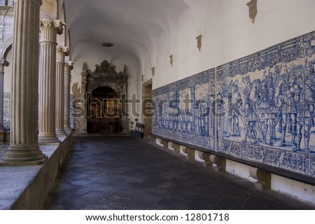 Cloister gallery of Se Cathedral in Viseu, Portugal - stock photo