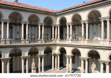 Cloister of Brera Palace in Milan, Italy - stock photo