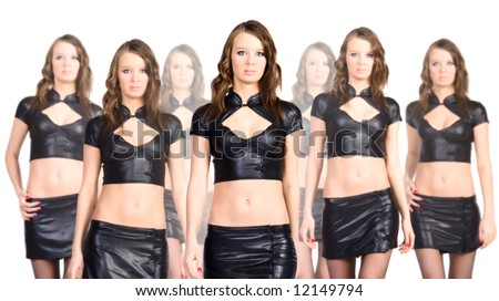 Clone team. Seven sexy clone women isolated on white. - stock photo