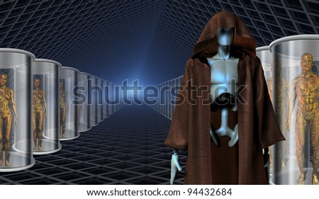 Clones and their robot keepers - stock photo