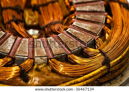 Close detail on an electric machine winding - stock photo