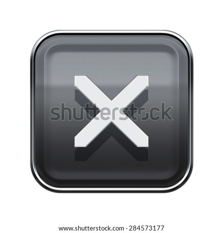 close icon glossy grey, isolated on white background - stock photo
