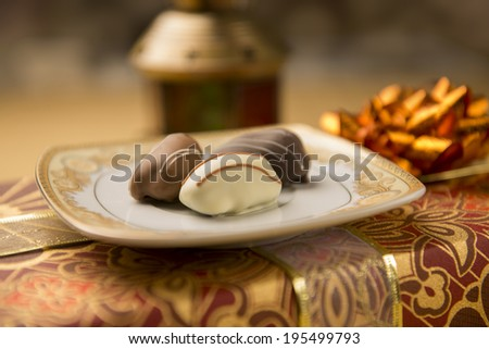 Close of date chocolate - a Ramadan set up - stock photo