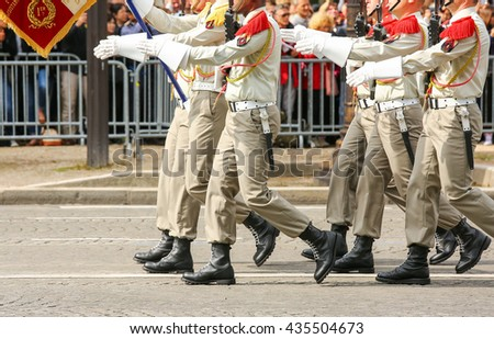 Close-uo of Military parade during the ceremonial - stock photo