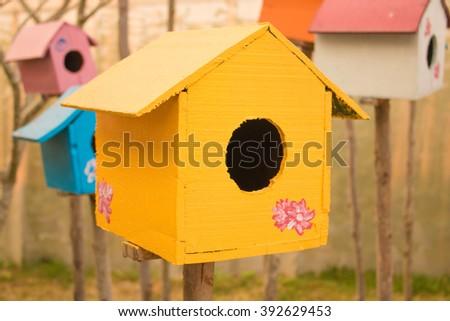 Close up a bird house - stock photo