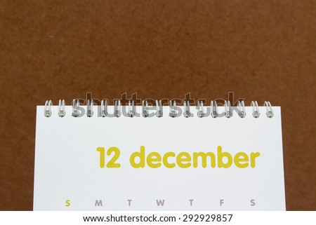 Close up a calendar page,december - stock photo
