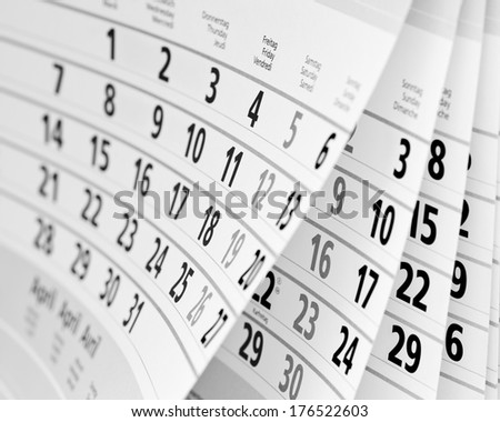 Close up a calendar page in black and white - stock photo
