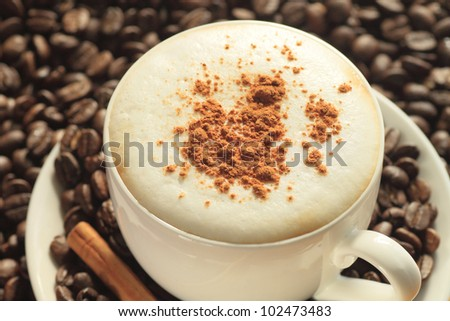 close up  a cup of coffee - stock photo
