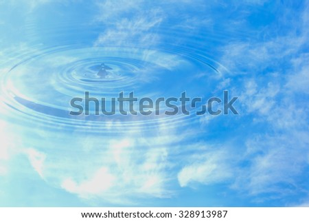 Close up, abstract composition with water drops on water reflect - stock photo